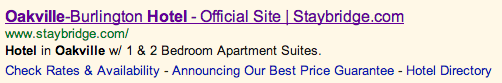 "Staybridge Suites Google Ad for ""Affordable Hotel Oakville"""