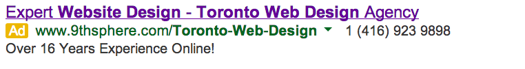 web design google ad example
