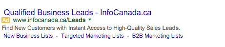 InfoCanada Google AdWords Example