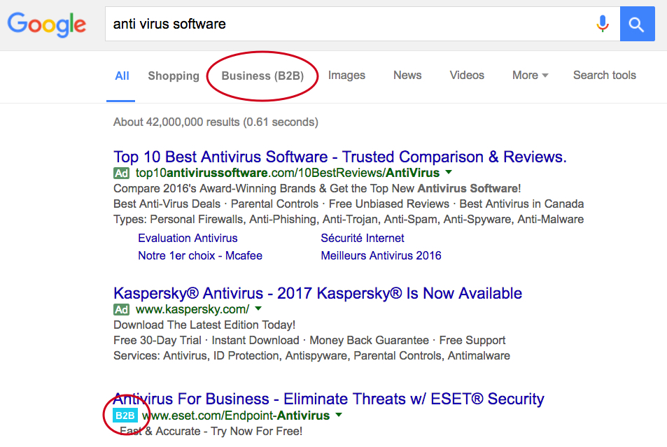 What a B2B Google Serp could look like