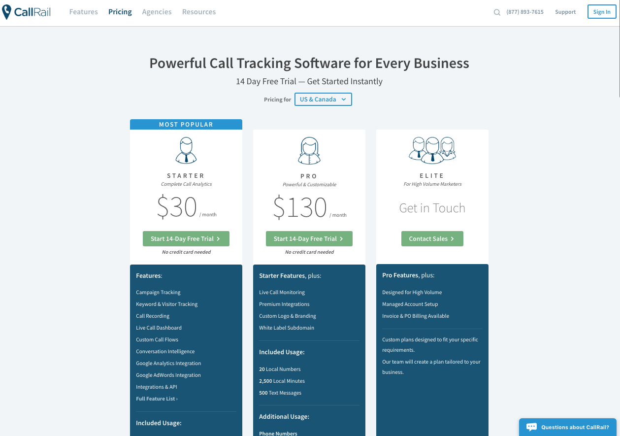 callrail landing page example