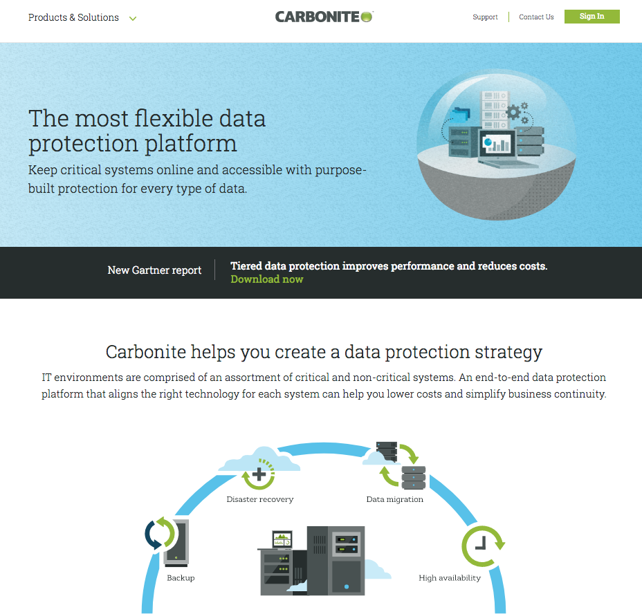 carbonite landing page example