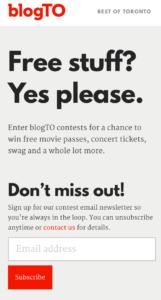 BlogTO newsletter sign up