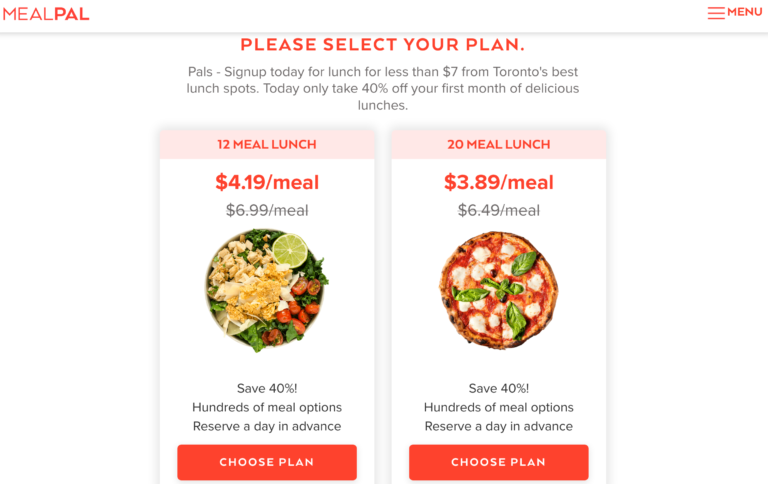 mealpal subscription - example of an offer - discount