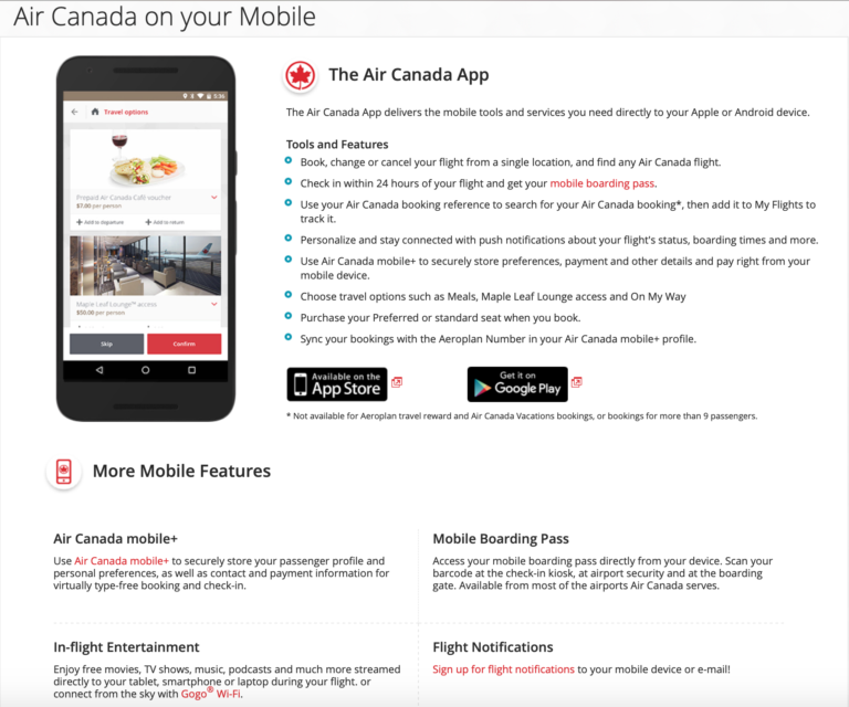 Artificial intelligence on Air Canada app